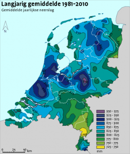 Neerslag jaargemiddelden 1981 - 2010